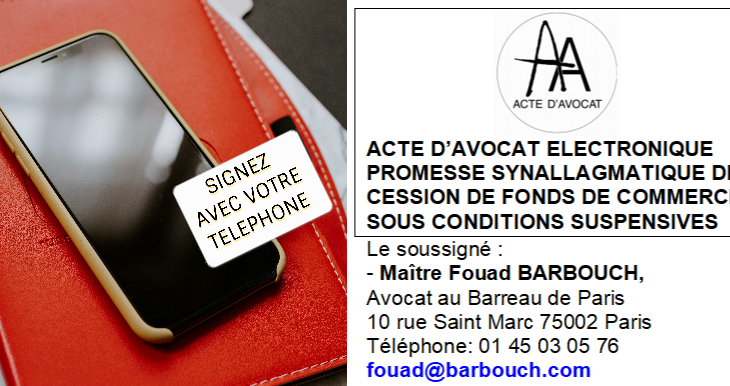 Vente de fonds de commerce : Acte d'avocat électronique